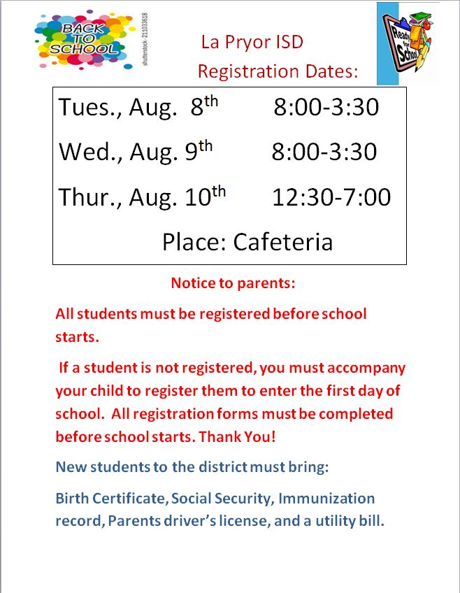 Back to school registration dates