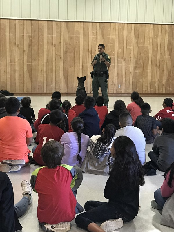 BP Agent Josh Torres and canine agent Hillary from the Uvalde station visited our Elementary Campus.