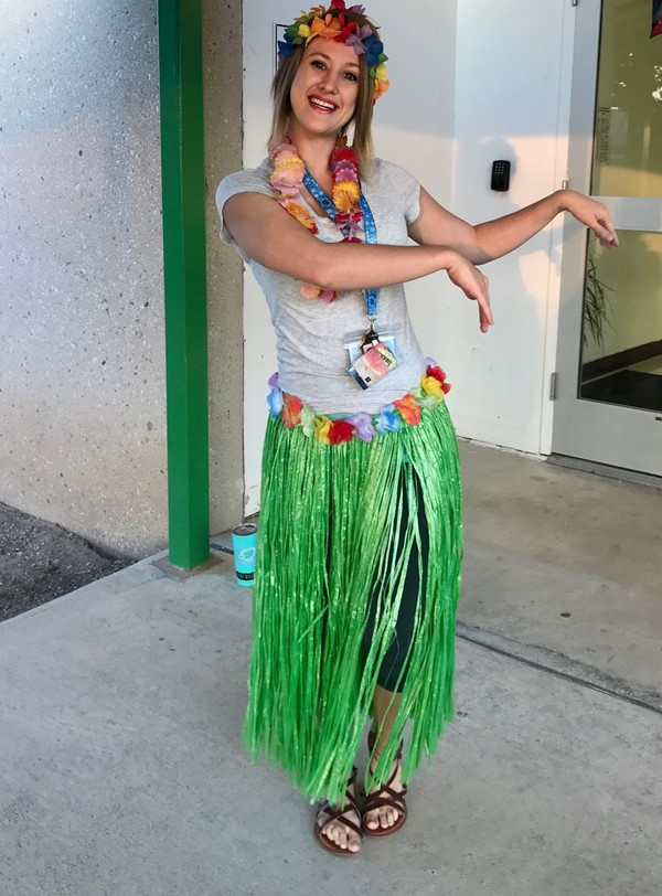 Hawaiian day - Mrs. Moffett!!