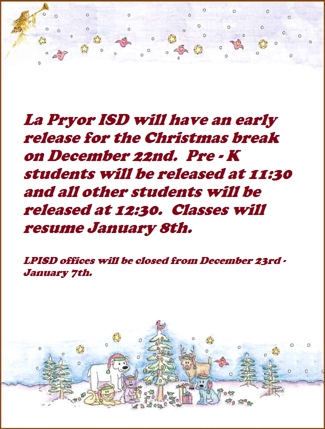 Christmas Break Information